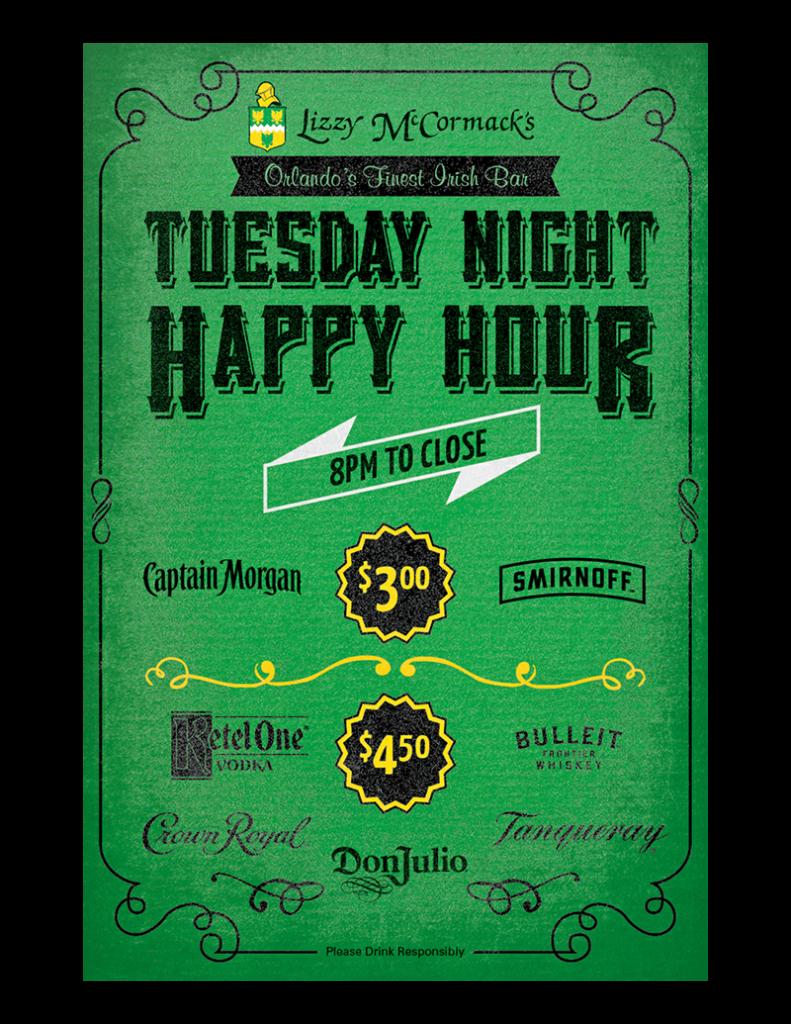 Tuesday Night Happy Hour Orlando - Lizzy McCormacks Irish Bar